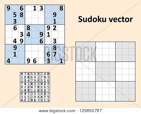 Symmetrical Sudoku with answers. Vector set Blank template.