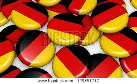 German flag on pins badges background image for German national day events holiday memorial and celebration 3D illustration.