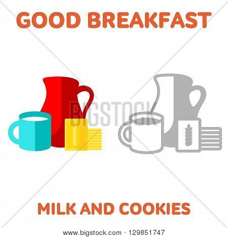 Vector flat and line icon jug and cup of milk and cookies. Fresh and healthy breakfast diet food. Web design web icon food menu. Isolated on a white background