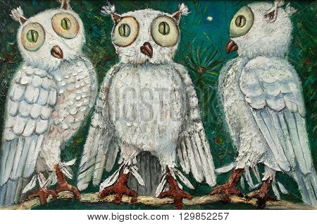 three white owls with green eyes on a tree original relief painting, mixed techniques painting style, abstract owl painting on canvas, night bird impressionism relief painting,