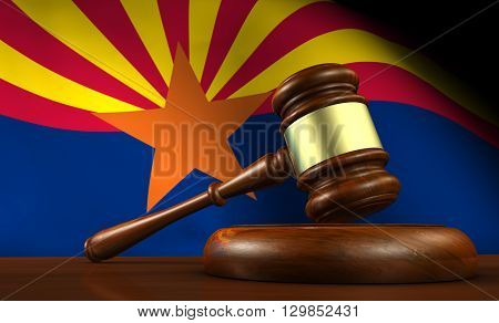 Arizona US state laws legal system and justice concept with a 3D rendering of a gavel and the Arizonan flag on background.