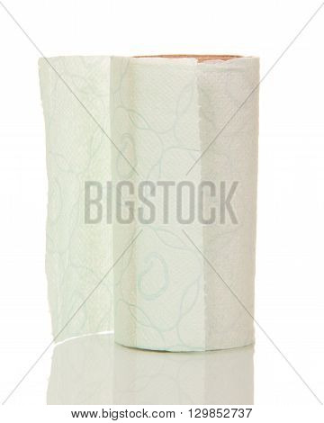 Almost empty roll of toilet paper isolated on white background.