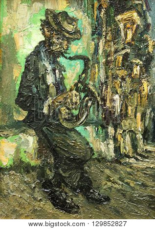 street musician original oil painting on canvas, impressionism relief drawing style, man playing on saxophone on the street abstraction painting