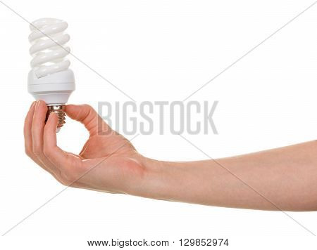 Hand holding compact spiral-shaped fluorescent lamp isolated on white background.