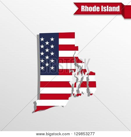 Rhode Island State map with US flag inside and ribbon