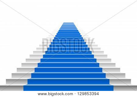 Staircase With Blue Carpet. Stairs With A Blue Carpet. Staircase With Blue Carpet. Vector Carpet Sta
