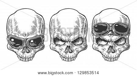 Skull with glasses for motorcycle. Black vintage vector illustration. For poster and tattoo biker club. Hand drawn design element isolated on white background