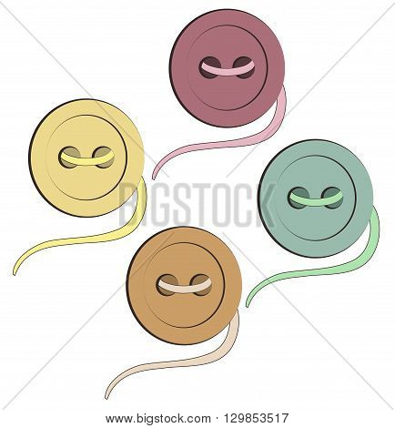 design element button needle and thread four buttons of different colors on a white background