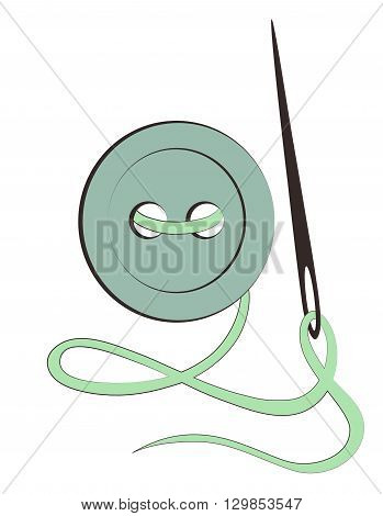 design element button needle and thread  on a white background