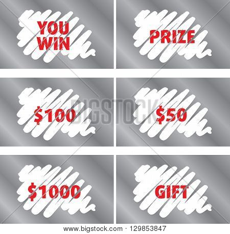 Lottery Scratch Card Vector Template Set Isolated