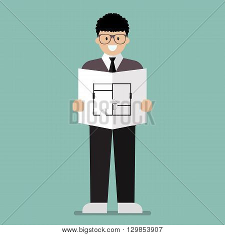 Architect flat cartoon. Industrial Workers Project Manager