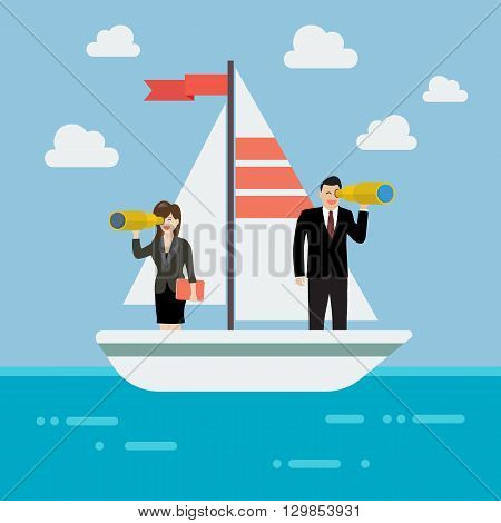Business man and woman sailing and looking for future. Business concept