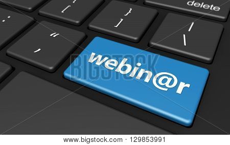 Elearning online education and workshop concept with webinar sign and word on a blue computer key 3D illustration.