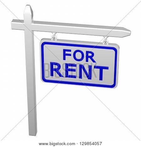 Pillar with sign for rent isolated on white background. 3D rendering.