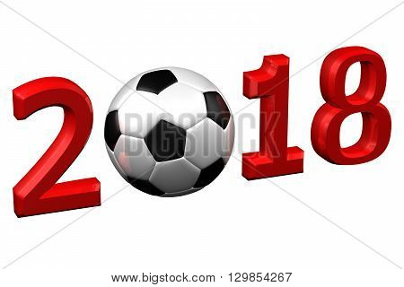 Concept: Football 2018 isolated on white background. 3D rendering.