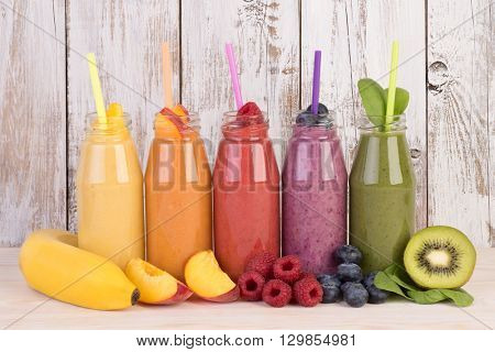 Fruit smoothies variety in rainbow colors