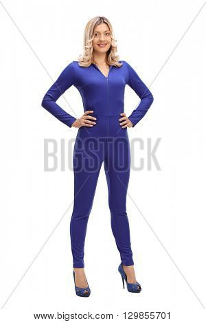 Full length portrait of an attractive woman in a blue one-piece racing suit isolated on white background