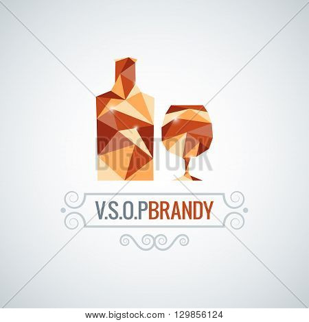 brandy glass poly design vector background 10 eps
