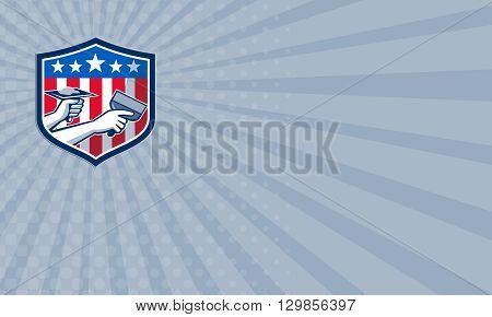 Business card showing illustration of a plasterer hand repair patch drywall with putty knife and holding a hawk with plaster set inside crest shield with American USA stars and stripes flag done in retro style.