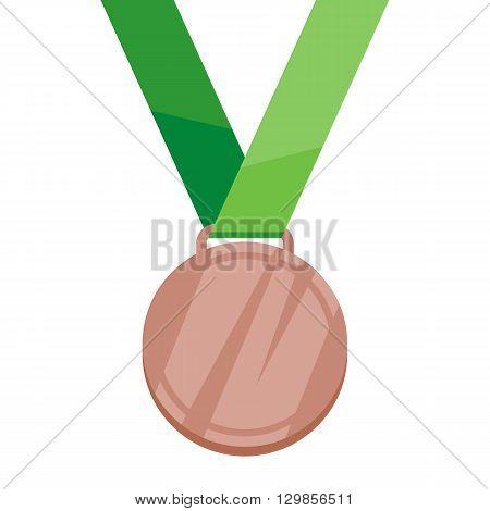 Bronze medal on green ribbon flat style vector illustration. Golden medal. Medal Icon. Medal symbol. Sport medal. Award medal.