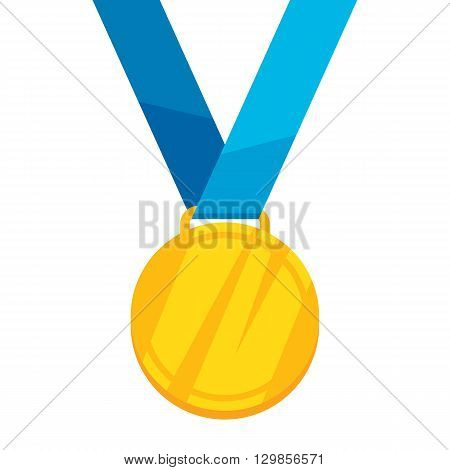 Golden medal on blue ribbon flat style vector illustration. Golden medal. Medal Icon. Medal symbol. Sport medal. Award medal.
