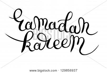decorative lettering design for holy month of muslim community festival ramadan kareem black and white inscription hand drawn calligraphy writting, vector illustration