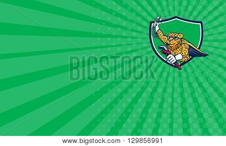 Business card showing illustration of a caped superhero leopard refrigeration and air conditioning mechanic holding a pressure temperature gauge and a wrench flying set inside crest shield done in cartoon style.