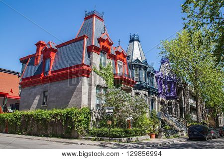 MONTREAL CANADA - 17TH MAY 2015: A closeup to a house in Montreal that is covered in Vines.