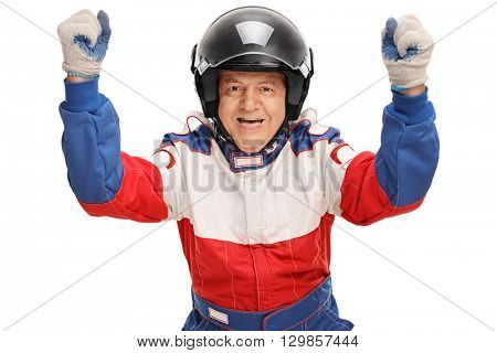Delighted mature car racer gesturing happiness isolated on white background
