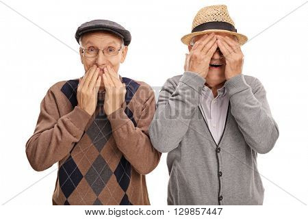 Two cheerful senior gentlemen covering their eyes and mouth isolated on white background