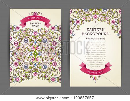 Ornate Vintage Cards In Eastern Style.