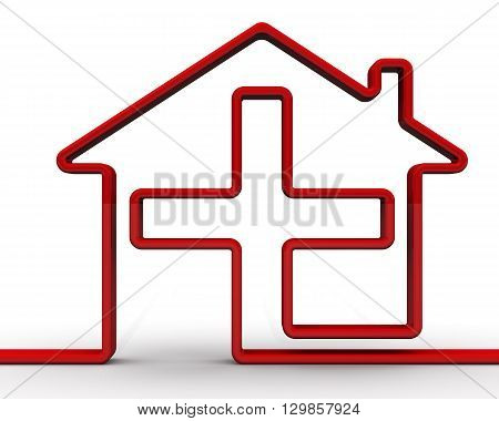 Red symbol of the house with a medical cross. Symbol hospitals and pharmacies. Isolated. 3D Illustration