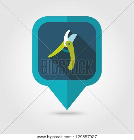 Secateurs pruner averruncator flat vector pin map icon. Map pointer. Map markers. Garden eps 10