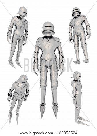 Computer generated 3D illustration with a knight in various positions isolated on white background
