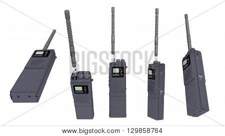 Computer generated 3D illustration with a walkie talkie in various positions isolated on white background