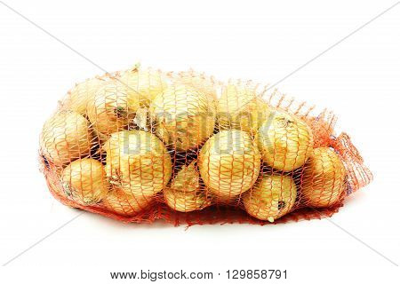 Stack of onion on a white background