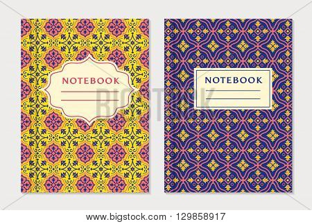 Notebook cover designs. Two exercise books with abstract yellow purple and pink pattern and place for text. Oriental style collection. Vector set.