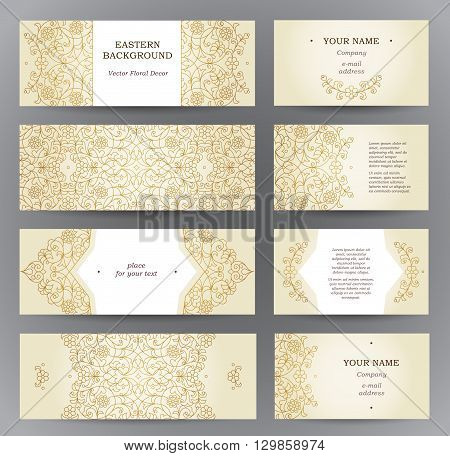 Vector set of ornate horizontal cards in oriental style. Golden outline floral decor. Template vintage Eastern frame for Ramadan Kareem greeting business card. Labels and tags with place for text.