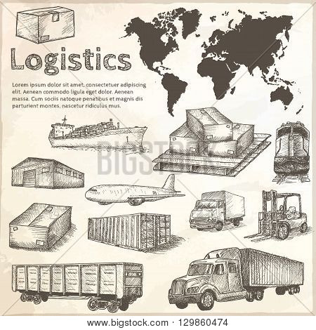 Logistics hand drawn isolated elements. Vector illustration.