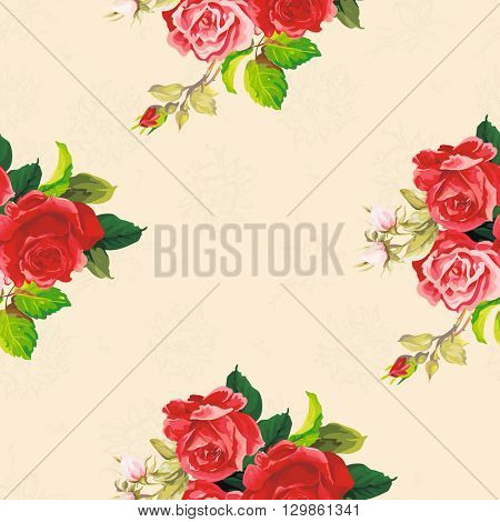 Seamless floral pattern with three rose Vector Illustration EPS8