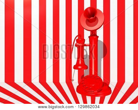 Computer generated 3D illustration with a red candlestick telephone against a red white background