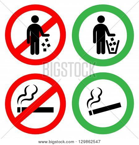 Prohibitory signs.Do not smoke, you can not litter. Vector signs.