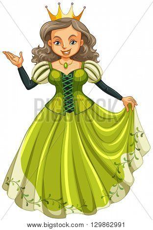 Queen in green dress illustration