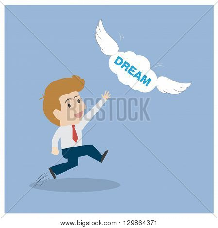 Businessman reach for dream fly. Can used for advertising idea.