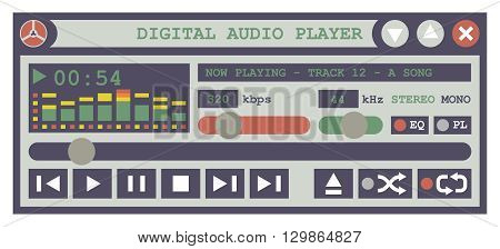 Digital Audio Player. Flat Design Vector Illustration Of An Audio Player Software