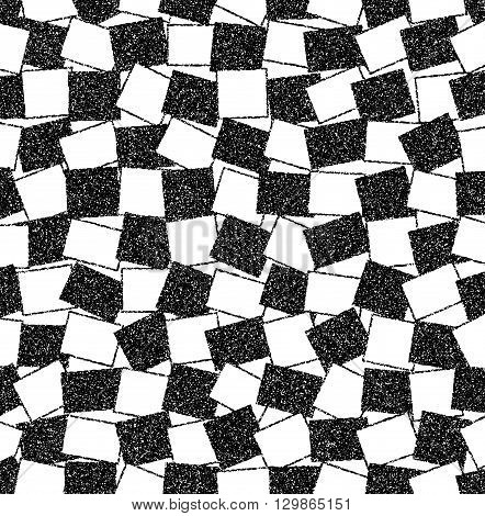 Black and white background of randomly arranged rectangles. Abstract vector monochrome background