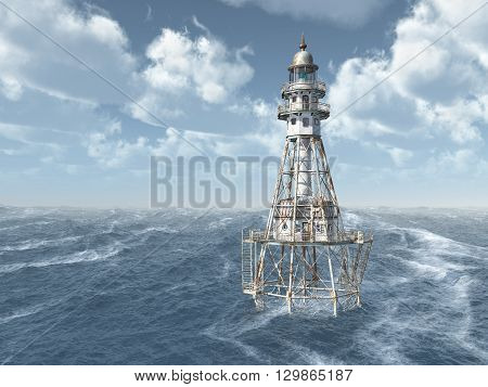 Computer generated 3D illustration with a lighthouse in the stormy ocean