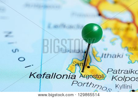 Argostoli pinned on a map of Greece