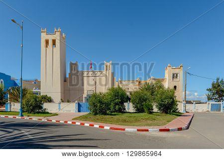 Art Deco building in Plaza de Espana in the town of Sidi Ifni Morocco.