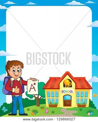 Frame with school boy 2 - eps10 vector illustration.